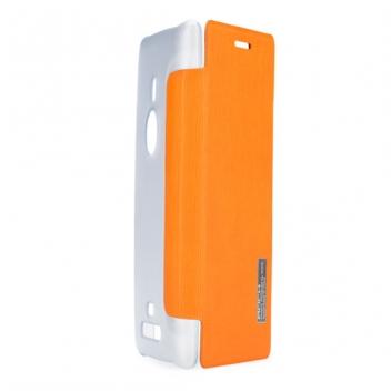Чехол для Nokia Lumia 925 пластик с кожей Rock Elegant апельсиново-оранжевый