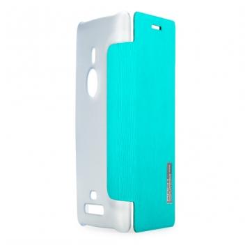 Чехол для Nokia Lumia 925 пластик с кожей Rock Elegant небесно-голубой