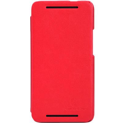 Чехол для HTC One кожаный-книжка + пленка NillKin красный