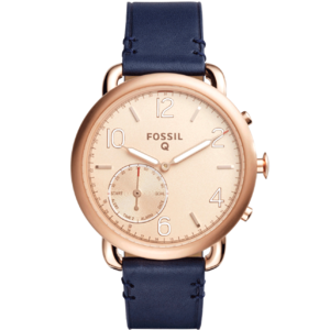 Fossil Q Tailor Dark Navy Leather (золотой/синий)
