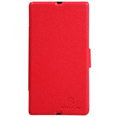 Чехол для Sony Xperia Z LT36i пластик с кожей Nillkin Fresh красный