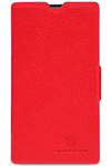 Чехол для Nokia Lumia 520 пластик с кожей Nillkin Fresh красный