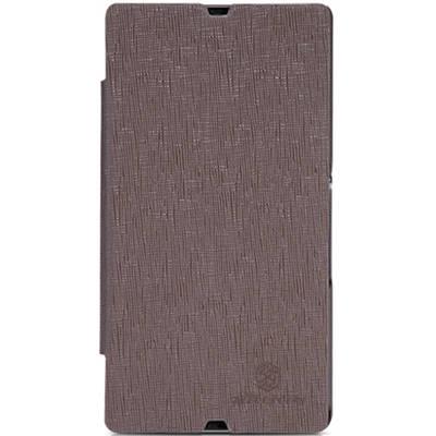 Чехол для Sony Xperia Z LT36i кожаный - книжка + пленка Nillkin N-Style коричневый