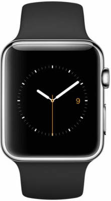 Apple Watch 42mm Stainless Steel with Black Sport Band (MJ3U2)