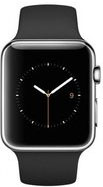 Apple Watch 38mm Stainless Steel with Black Sport Band (MJ2Y2)