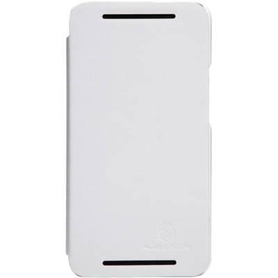 Чехол для HTC One кожаный-книжка + пленка NillKin белый